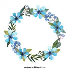 Wreath with blue flowers Free Vector