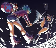 this is still one of the awesomest scott pilgrim fanarts  it's by mariel kinuko cartwright, who actually worked on the scott pilgrim game and is currently working on skullgirls.  circa 2010