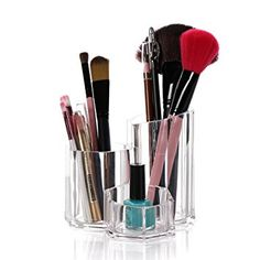 Cq acrylic 3 Slot Acrylic Makeup Brush Holder and Face Brushes Organizer ,5.3×5.3×4.7inch,pack of 1 Review