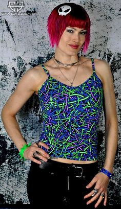 Wired Tank Top  UV Reactive Tank Top with Front & Back Print. Future Fashion, Rave Outfits, Colorful Shirts, Tankini, Rave Clothing, Product Launch, Clothes For Women, Tank Tops, Trippy
