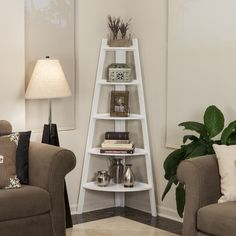 "DanyaB 63"" Corner Ladder Bookcase & Reviews | Wayfair"