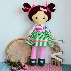 Lalka Rojberka - słodki łobuziak - Anetka - 50 cm #clothdoll #doll #handmade #stuffed #toy @pracownia.malykoziolek #firstdoll Stuffed Toy, Minnie Mouse, Dolls, Christmas Ornaments, Holiday Decor, Disney Characters, Handmade, Art, Baby Dolls
