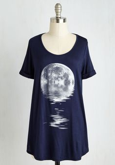 Step in the Right Reflection Top. If this midnight blue tee is any sign of your creative process - shooting for the sky but stopping to self-assess along the way - then youre sure to find success! #blue #modcloth