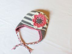 Grey and White Stripe Crochet Baby Hat with Pink Flower Custom order
