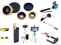 Kansang Kansang Cell Phone Lens Kit Universally Compatible with Apple iPhone 66 Plus55S5C44S iPad AiriPad 234iPad Mini Tablet PC Laptops Samsung Galaxy S5S4S3S2 Note3Note2 HTC ONE M8 Blackberry Bold Touch Sony Xperia Motorola Droid and Other Smart Phones  FREE Bonus TripodExtendable Handheld Monopod Selfie Stick Cell Phone Mobile Tripod Mount AdapterExtra Clip and Photo Tips  Works with iPhone iPad iPod Samsung And Other Similar Devices Kit Contains 3 Universal Lenses Fish eye Wide Angle…