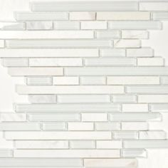 Glass Tile and Marble Blend - White Glass and Stone - Linear Series - Bianco - Amazon.com