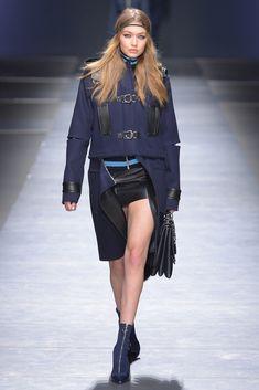 Gigi Hadid walks in Versace RTW Fall 2016 #MFW [Photo: Davide Maestri]