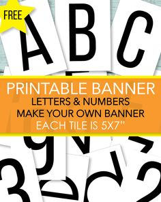 Free Number And Alphabet Printables ABC Banner Letters - Print It Baby Free Baby Shower Printables, Baby Shower Activities, Free Printables, Shower Games, Free Printable Alphabet Letters, Abc Alphabet, Make Your Own Banner, How To Make Signs, Paper Banners