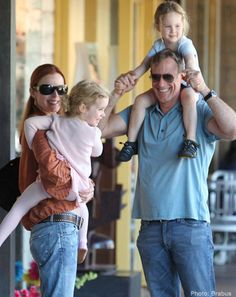 Marcia, Tom, and the girls Celebrity Kids, Celebrity Photos, Cute Celebrities, Celebs, Emergency C Section, Marcia Cross, Fraternal Twins, Fluffy Sweater, Desperate Housewives