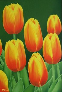 Irma Endrey: Orange tulips; oil on canvas