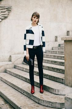 Sonia by Sonia Rykiel Pre-Fall 2015 -- black & white jacket & red boots #style #fashion