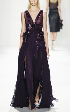 J. Mendel: Sleeveless Pleated Gown With Degrade Organza