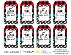 Printable Thankful for SWEET friends like you Gift Tags, Printable friendship gift tags, Printable buffalo plaid tags by sunshinetulipdesign on Etsy