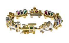 Armband 750/- GG und WG mit Fancy Diamonds und Edelsteinen WERT 9500€ PH-850115