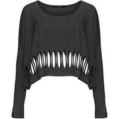 Boris Cut out crop top ($87) ❤ liked on Polyvore featuring tops, shirts, sweaters, loose fitting tops, cut out shirts, loose black shirt, cut-out tops y black shirt
