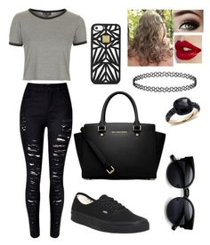 """""""I hate when i'm singing a song and someone corrects me."""" by blessed-with-beauty-and-rage ❤ liked on Polyvore featuring Topshop, Vans, MICHAEL Michael Kors, Hervé Léger and Pomellato"""