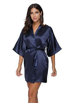 0352a4abfd Women s Sleep   Loungewear - The Bund Women s Pure Colour Short Satin Kimono  Robes with Oblique V-Neck at Women s Clothing store
