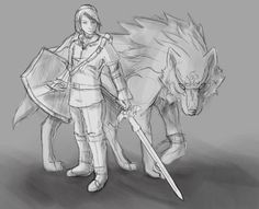 WIP Fanart~  Link and Link wolf :3