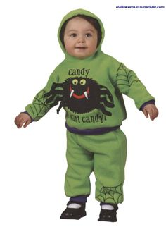 HOODED SPIDER - Includes: Hooded sweatsuit, green with purple trim.   #stpattysdaycostumes