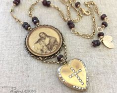 Repurposed Religious Necklace Antique Locket Necklace - Vintage Repurposed Christian Faith Jewelry Necklace - Unique Gift for Her