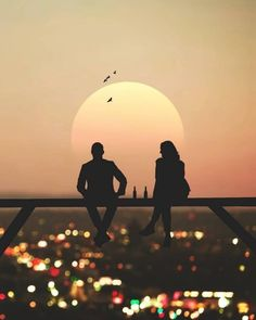 Silhouette Photography, Moon Photography, Couple Photography, Couple Silhouette, Silhouette Art, Love Images, Love Photos, Dp Photos, Pictures Images