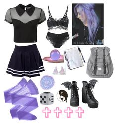 """Pastel Goth #23"" by godfidence ❤ liked on Polyvore featuring Wolford, Killstar, The Gypsy Shrine, Iron Fist and Herschel"