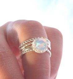 Opal ring Stacking Set Sterling silver opal rings by AWildViolet #opalsaustralia