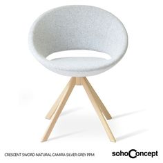 Crescent Sword's seat is upholstered with a removable zipper enclosed leather, PPM, leatherette or wool fabric slip cover. #sohoconcept #diningchair #tayfurozkaynak Available at allmodernoutlet.com  http://www.allmodernoutlet.com/soho-concept-crescent-sword-dining-chair/
