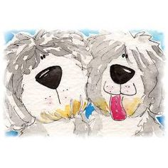 old english sheepdog cartoon art | oes_lovely_cartoon_couple_postcards_package_of_8.jpg?height=250&width ...