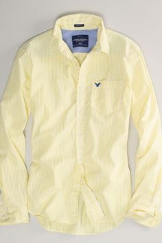 AEO Bengal Stripe Shirt, Men's, Size: 2XL, Yellow