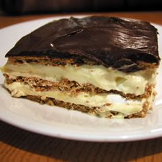 Chocolate Eclair Dessert ...super easy and a crowd favorite. It is hard to get any if Jonas is around!