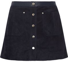 Rag & bone - Siggy Leather-trimmed Suede Mini Skirt - Midnight blue