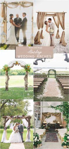 rustic country burlap wedding arch ideas #weddings #countryweddings #weddingideas