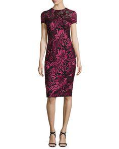 David Meister Short-Sleeve Floral Embroidered Sheath Dress, Burgundy, $550.00