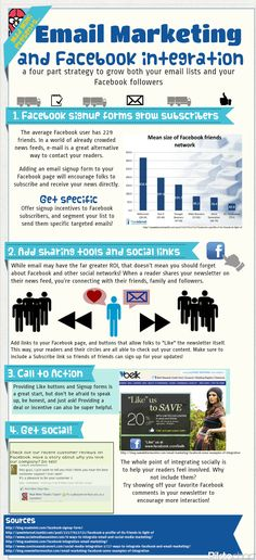 Email Marketing and Facebook Integration #FacebookTips #FacebookMarketing #infographic