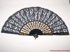 GG35 GORGEOUS VINTAGE HAND FAN BLACK AND GOLD LACE SEQUINED