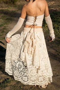 Romantic Ivory Vintage Cotton Crochet And Lace Up by gypsecouture, $160.00