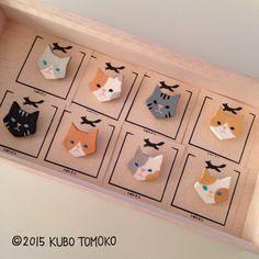 台紙をつけました。  #clay #handmade #craft #brooch #animal #TomokoKubo #ハンドメイド #クボトモコ #ブローチ #動物 #粘土 #cats #ネコ
