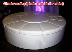 Circular seating, perfect to create island seating in the middle of the marquee. The centre can be used for Dancers, Plants, Indoor Fountains etc!
