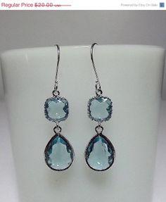 SALE thru 331 Aquamarine Blue Glass Drop by DelaneyJeanJewelry, $17.00