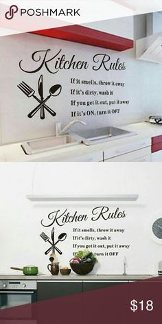 Wall Decals Kitchen Rules Brand new, high quality wall decal. Long lasting color, won't  fall off or fade. Decorate your room, an ideal way to personalize your home in a very affordable way. Can be applied to any smooth and clean surface such as wall, door, window, plastic, metal, ceramic tile, etc. NOT suitable for dirty or rough surface.  #Kitchen Accessories
