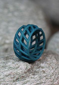 petrol green geometrical Ring made of Nylon in different sizes.____ #statementring #greenring #geometricaljewelry #ring #ringgroß #statement #eyecatcher #grün #etsyde