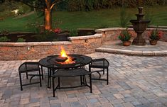 patio design ideas with pavers | Patio Style Idea With Pavers and Water Fountain | Patio Contractor