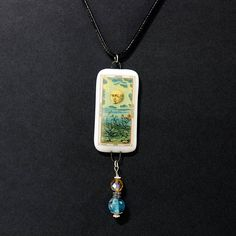 Tarot Card Necklace The Moon Water and Plants Necklace