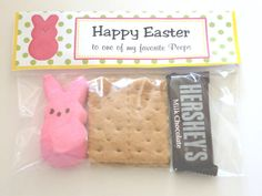 I just made these Easter gifts for my kids' teachers. The printable topper fit on a ziploc snack or sandwich bag. All I did was put a peep, graham cracker, and snack size hersey chocolate bar in a bag and attach the topper. Love it! The kids tasted them and said they taste just like regular s'mores!