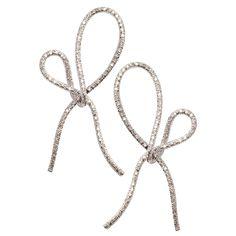 Vera Wang Diamond Platinum Bow Earrings   1stdibs.com