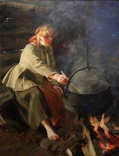 "Anders Zorn ""I Eldhuset"" (1906). Olja, 90 x 120 cm. Zornmuseet, Mora."