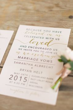 Modern mixed font invitations: http://www.stylemepretty.com/wisconsin-weddings/arena-wisconsin/2016/06/08/even-rain-couldnt-ruin-this-pretty-pink-wedding/ | Photography: Maison Meredith Photography - http://www.maisonmeredith.com/