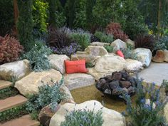 Photo: Boulder Seating Area And Fire Pit