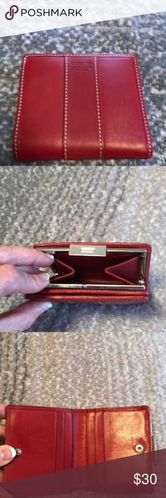 Coach small wallet Red wallet with snap change compartment closure. 6 credit card slots and 2 sleeves for bills. Coach Bags Wallets